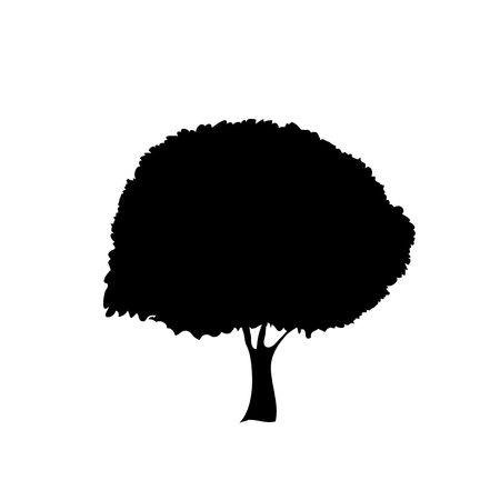 Black silhouette of foliar tree icon isolated on white background. Vector illustration, sign, symbol, clip art, pictogram for design.