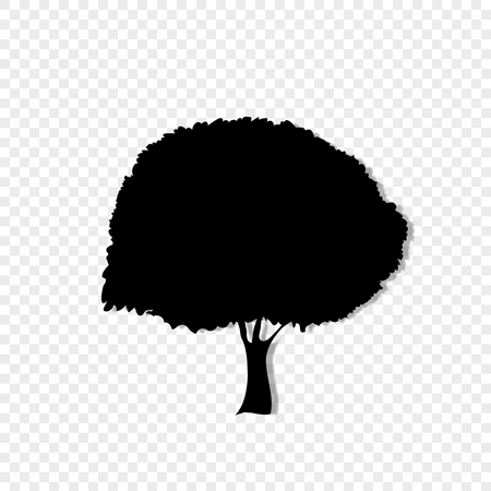 Black silhouette of foliar tree icon isolated on transparent background. Vector illustration, sign, symbol, clip art, pictogram for design.