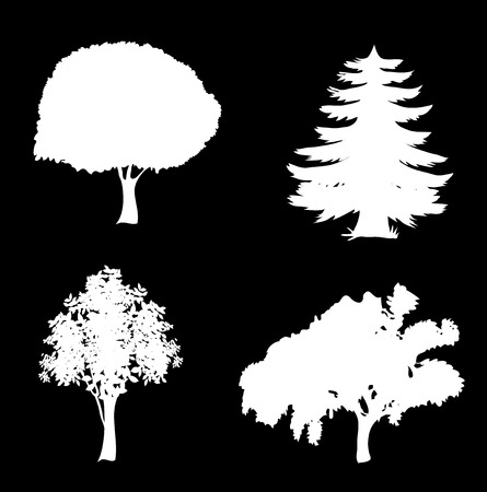 White vector set of trees icons. Black silhouettes of foliar and pine trees isolated on black background.