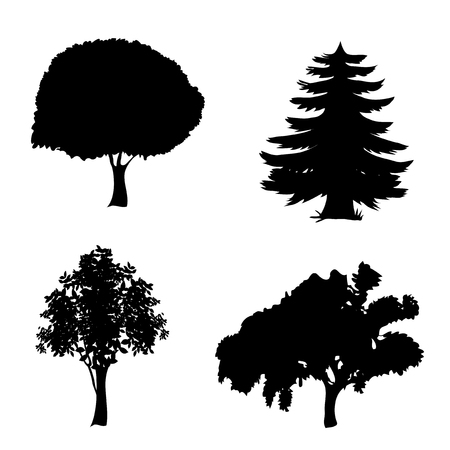 Vector set of trees icons. Black silhouettes of foliar and pine trees isolated on white background. Иллюстрация