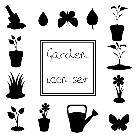 Black silhouettes of garden icons set isolated on white background . Vector illustrations, icons, signs, templates for design.