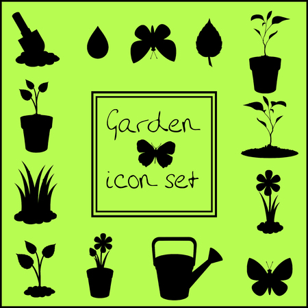 Black silhouettes of garden icons set isolated on green background . Vector illustrations, icons, signs, templates for design.