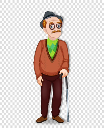 Vector cartoon illustration of an old man character. An elderly full length man with glasses and walking cane wearing hat isolated on transparent background. Grandpa standing alone. Illustration