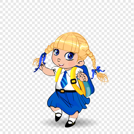 Cute little blonde schoolgirl with braids and big blue eyes wearing uniform with backpack on transparent background. Vector illustration, clip art, template, back to school, teachers day concept.