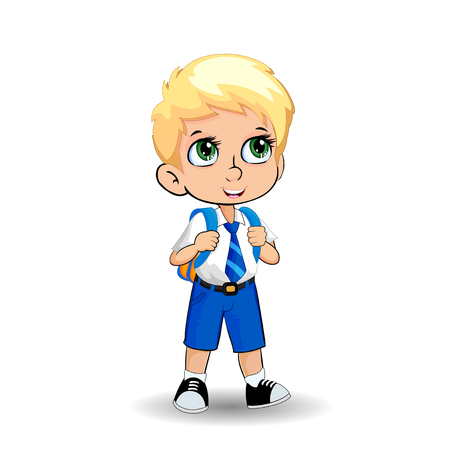 Cute little blonde school boy with big green eyes wearing uniform with backpack isolated on white background. Vector illustration, clip art, template, back to school, teachers day concept.