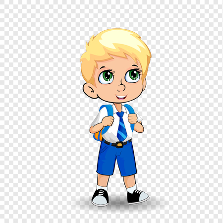 Cute little blonde schoolboy big green anime eyes wearing uniform with backpack isolated on transparent background. Vector illustration, clip art, template, back to school, teacher s day concept. Vector Illustration