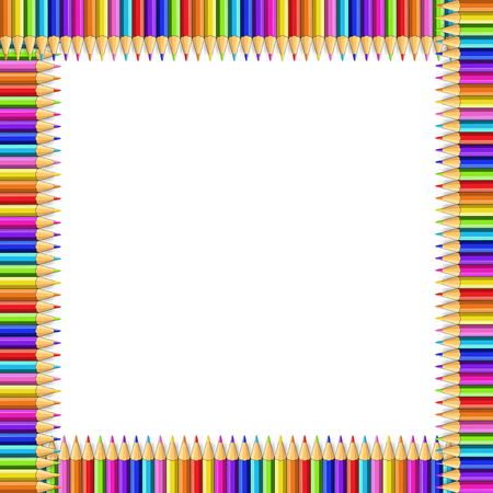 Vector multicolored square frame made of colorful rainbow pencils isolated on white background with empty copy space for text.