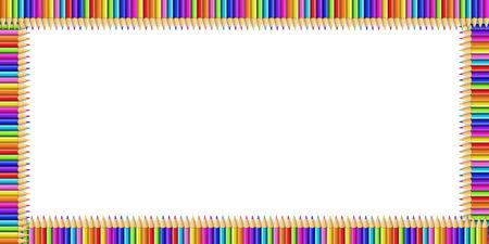 Bordure rectangle multicolore de vecteur faite de crayons arc-en-ciel colorés isolés sur fond blanc avec un espace de copie vide pour le texte.