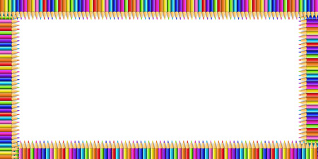 Vector multicolored rectangle border made of colorful rainbow pencils isolated on white background with empty copy space for text.