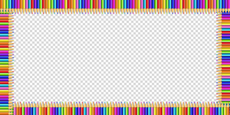 Vector multicolored rectangle border made of colorful rainbow pencils isolated on transparent background with empty copy space for text.