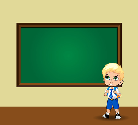Cute schoolboy with big green anime eyes wearing uniform with backpack standing near blackboard with empty copy space for text on classroom background. Back to school vector cartoon character.