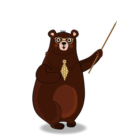 Vector illustration of cute cartoon bear teacher character in glasses and tie holding pointer isolated on white background. Back to school or teachers day presentation concept clip art.