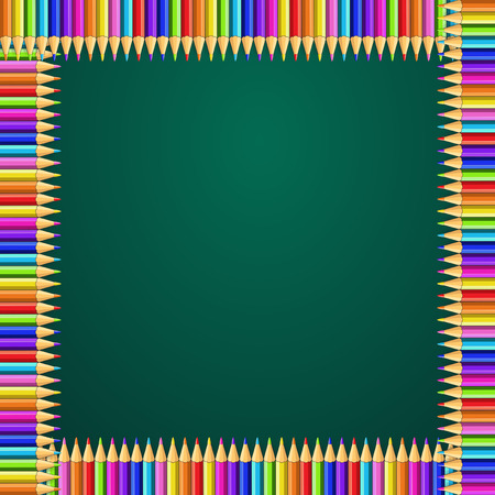Vector multicolored square frame made of colorful rainbow pencils on green blackboard background with empty copy space for text. Back to school or teacher s day template. Vetores