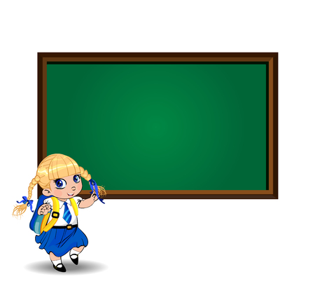 Kawaii little blonde schoolgirl with braids and big blue eyes wearing uniform with backpack standing near chalkboard with copy space isolated on white. Vector back to school or teacher s day clip art