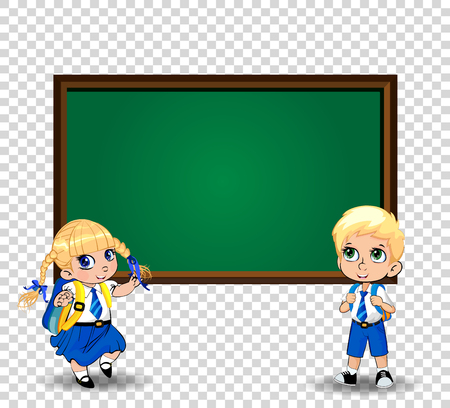 Pair of cute little schoolkids, pupils wearing uniform with backpacks standing near blackboard with copy space on transparent background. Vector back to school or teacher s day clip art, template. Vetores