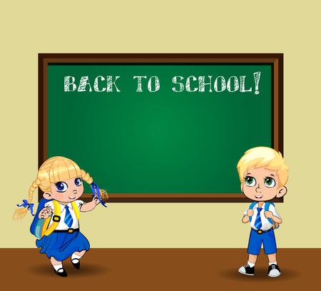 Écolière de dessin animé mignon et écolier en uniforme avec des sacs à dos près du tableau. Illustration vectorielle, flyer, affiche, modèle, retour à l'école, concept de personnages de jour de l'enseignant. Enfants écoliers kawaii Vecteurs