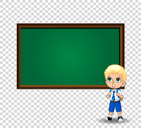 Kawaii little blonde school boy with big green eyes wearing uniform with backpack standing near blackboard with copy space isolated on transparent. Vector back to school or teacher s day clip art.
