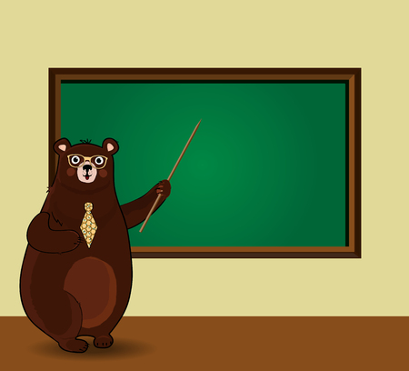 Vector illustration of cute cartoon bear teacher in glasses and tie holding pointer standing near blackboard with copy space In classroom. Back to school or teacher s day template.