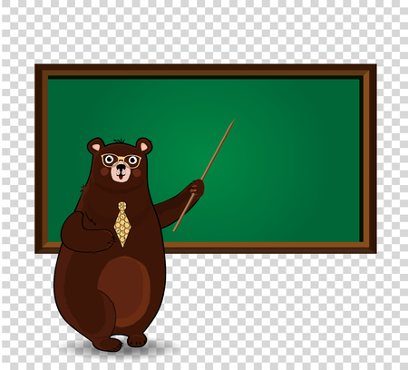 Vector illustration of cute cartoon bear teacher in glasses and tie holding pointer standing near blackboard with copy space on transparent background. Back to school or teacher s day concept clip art