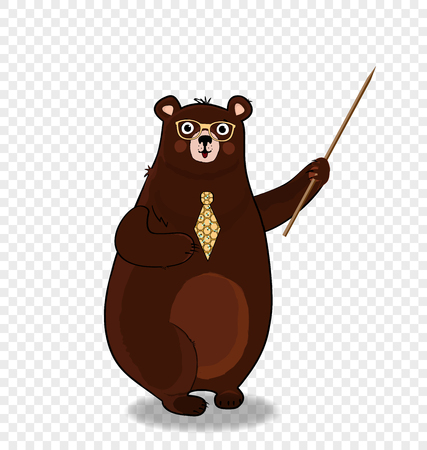 Vector illustration of cute cartoon bear teacher character in glasses and tie holding pointer isolated on transparent background. Back to school or teacher s day presentation concept clip art.