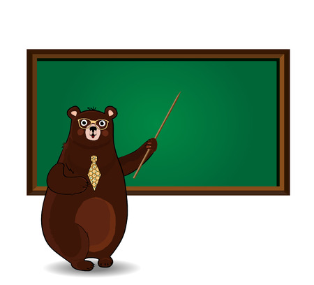 Vector illustration of cute cartoon bear teacher in glasses and tie holding pointer standing near blackboard with copy space isolated on white background. Back to school or teacher s day clip art. Stock Illustratie