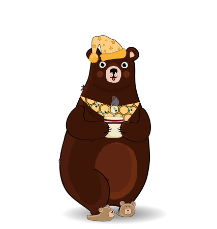 Vector illustration of funny cartoon bear character in slippers, sleeping hat and necktie, holding cup with hot drink isolated on white background. Illustration, clip art for greeting card design.