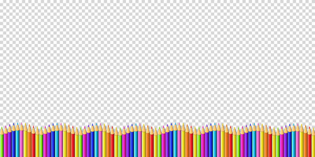 Vector down line wavy border made of colored wooden pencils row isolated on transparent background. Back to school framework bordering template concept or photo frame with empty copy space for text