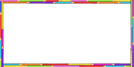 Vector creative rectangle border frame made of colored wooden pencils on white background. Back to school framework bordering template concept, banner, poster with empty copy space for text Vectores
