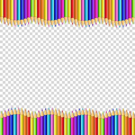 Marco de borde de vector hecho de lápices de madera de colores aislados sobre fondo transparente. Regreso a la escuela marco bordeando el concepto de plantilla, pancarta, póster con espacio de copia vacía para el texto.