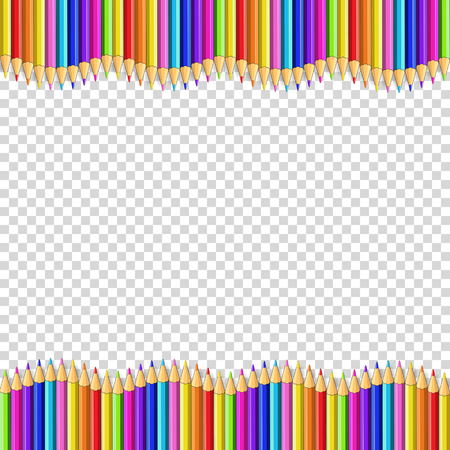 Vector border frame made of colored wooden pencils isolated on transparent background. Back to school framework bordering template concept, banner, poster with empty copy space for text. Stock Illustratie