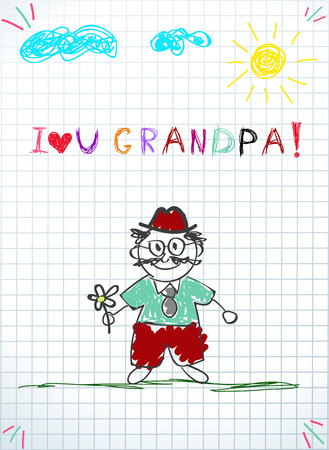 Children colorful hand drawn doodle vector illustration of grandfather holding flower, sun, clouds and kids inscription i love you grandpa on graphing squared notebook sheet. Grandparents day postcard