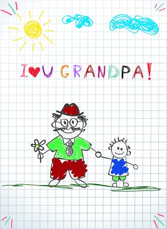 Children colorful pencil drawings. Vector illustration of granddad and grandchild together holding hands and inscription i love you grandpa on squared notebook sheet background. Kids doodle drawings. Ilustração Vetorial