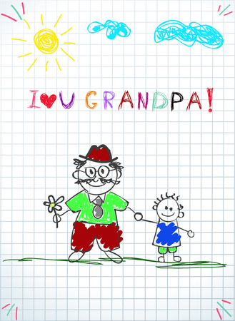 Children colorful pencil drawings. Vector illustration of granddad and grandchild together holding hands and inscription i love you grandpa on squared notebook sheet background. Kids doodle drawings.