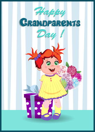 Happy grandparents day greeting card with cute cartoon little girl character with ginger hair holding big gift box and flowers bouquet on striped wall background. Vector illustration of kawaii baby.
