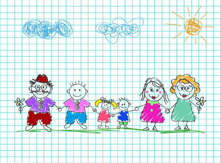 Kids drawings of happy family. Colored pencil hand drawn vector illustration of mom, dad, grandparents and kids holding hands together on squared notebook sheet background. Characters for postcard.