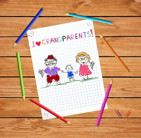 Children colorful hand drawn vector greeting card with grandpa, grandma and grandson together. Kids inscription I love grandparents on notebook grid sheet on wooden desk with colored pencils around.