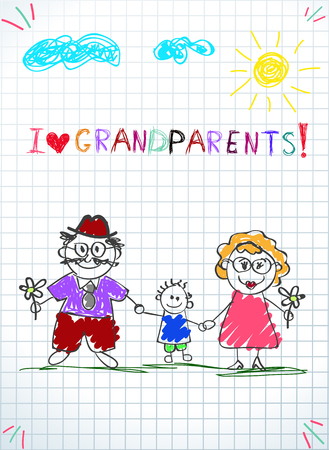 Children colorful hand drawn vector greeting card with grandpa, grandma and grandson together. Kids inscription I love grandparents on notebook squared sheet. Children colorful pencil drawings. Illustration