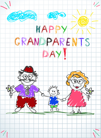 Children colorful hand drawn vector greeting card with grandpa, grandma and grandson together. Kids inscription happy grandparents day on notebook grid sheet background