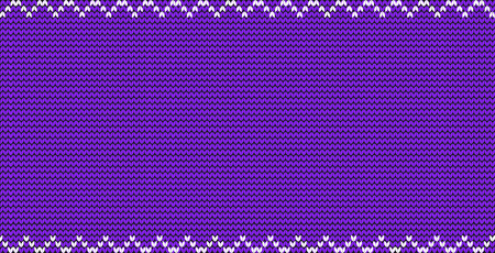 Purple or violet knitted fabric background with zig zag border frame and empty copy space for text. Vector illustration, poster, banner, template for greeting card, invitation, flyer. Festive backdrop