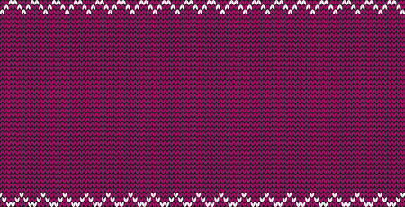 Burgundy vinous knitted fabric background with zig zag border frame and empty copy space for text. Vector illustration, poster, banner, template for greeting card, invitation, flyer. Festive backdrop Ilustrace