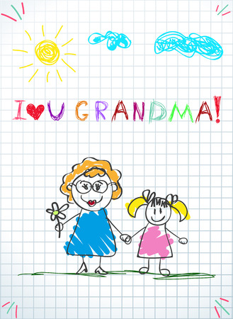 Children colorful pencil drawings. Vector illustration of grandmom and grandchild together holding hands and inscription i love you grandma on squared notebook sheet background. Kids doodle drawings. Illustration