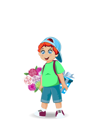 Vector illustration of cute little boy with flowers and present. Holiday celebration festive clip art of cartoon boy character for happy birthday, back to school, teachers day, grandparents day card.