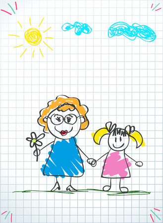 Children colorful pencil drawings. Vector illustration of grandmom and granddaughter holding hands on squared notebook sheet background. Kids doodle drawings of girl and woman together. Иллюстрация