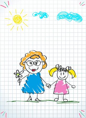 Kinder bunte Bleistiftzeichnungen. Vektor-Illustration von Großmutter und Enkelin Händchen haltend auf quadratischem Notizbuchblatthintergrund. Kinder kritzeln Zeichnungen von Mädchen und Frauen zusammen.