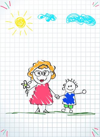 Dibujos infantiles de familia feliz. Lápiz de color dibujado a mano ilustración vectorial de mujer y niño cogidos de la mano juntos sobre fondo de hoja de cuaderno cuadrado. Personajes para la tarjeta de felicitación del día de la familia feliz Ilustración de vector