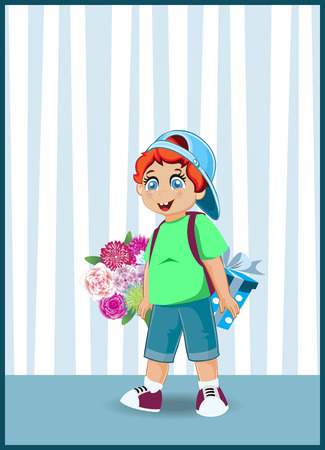Vector illustration of cute cartoon little boy character with ginger hair holding flowers bouquet and gif box on striped wallpaper background. Kawaii baby for greeting card design, postcard clip art.
