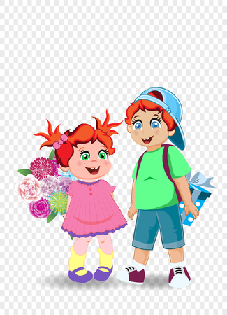 Cartoon vector illustration of cute little kids with flowers and present. Holiday celebration clip art of boy and girl characters for happy birthday, back to school, teachers day, grandparents day.