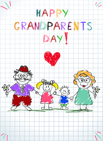 Grandparents day children colorful hand drawn illustration of grandfather, grandmother, grandson and granddaughter together on squared notebook sheet backdrop Illustration