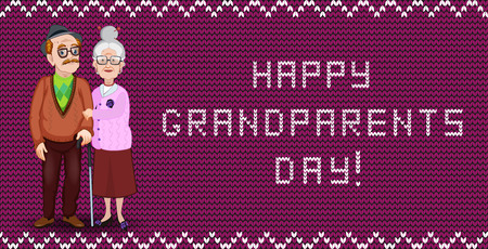 Happy grandparents day greeting card for grandmother and grandfather. Vector cartoon loving elderly couple embrace on burgundy fabric knitting background with wavy ornament and festive inscription. Illustration