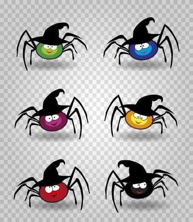 Vector set of cute funny multi colored smiling spiders in halloween witch hat. Green, blue, purple, red, yellow and black spider characters on transparent background. Design elements, clip art